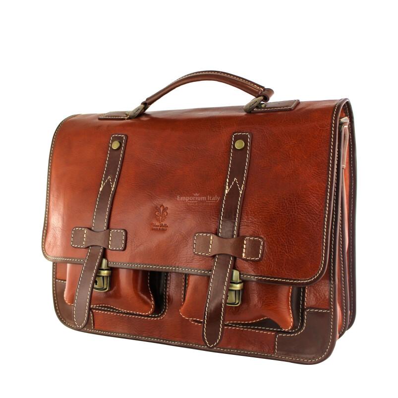 ERNESTO: cartella /borsa ufficio uomo, in cuoio, colore: MIELE / TESTAMORO, Made in Italy