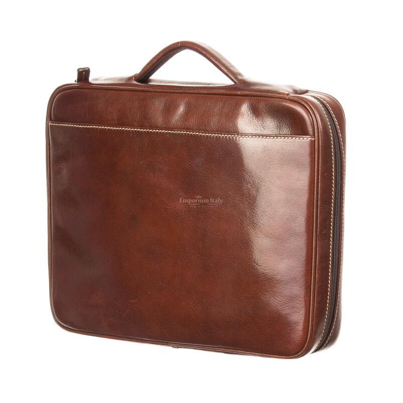 Cartella ufficio / lavoro in vera pelle RINO DOLFI mod. ALFREDO, colore MARRONE, Made in Italy.