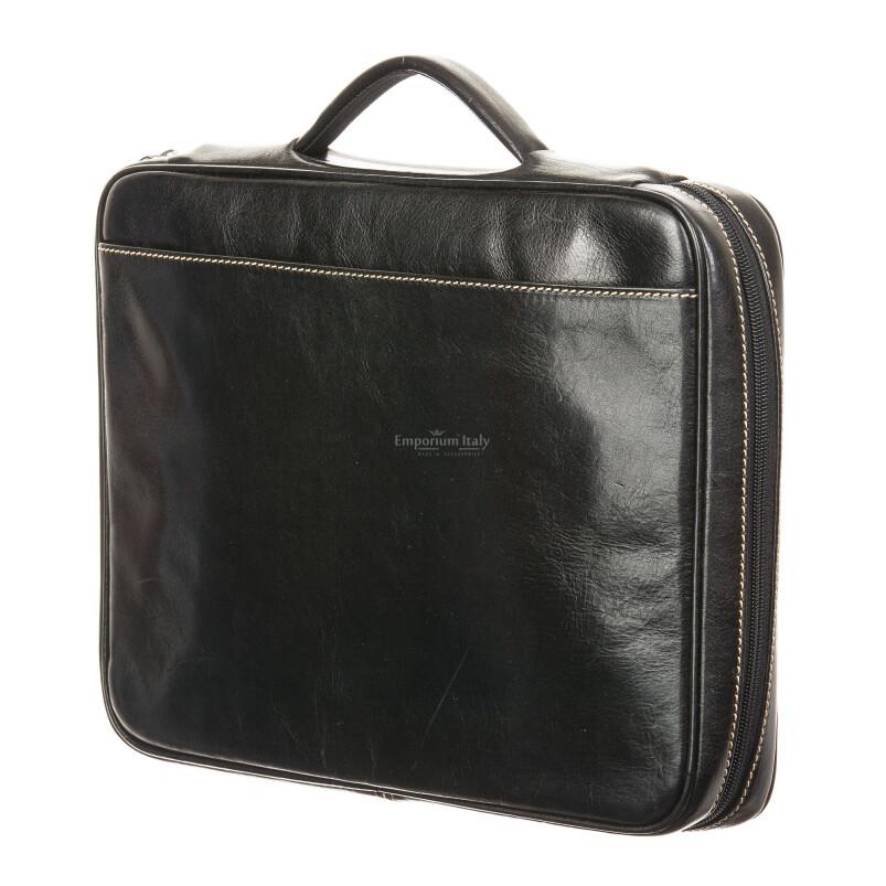 офисный портфель /деловая сумка из кожи RINO DOLFI мод. ALFREDO, цвет ЧЁРНЫЙ, Made in Italy.