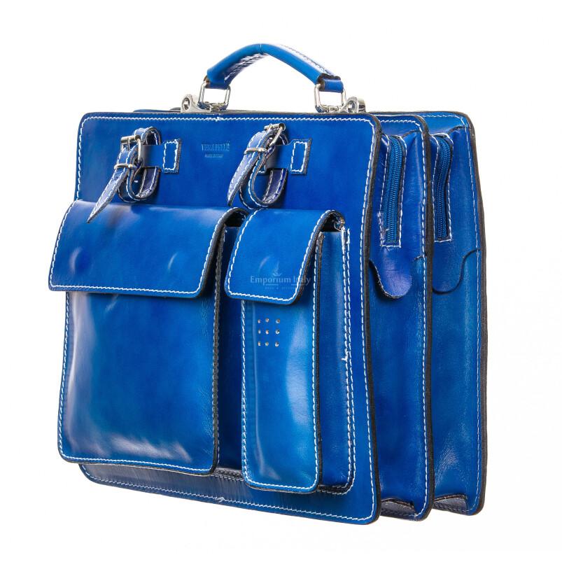 Borsa uomo / donna in vera pelle MAESTRI mod. ALEX maxi, colore BLU, Made in Italy.