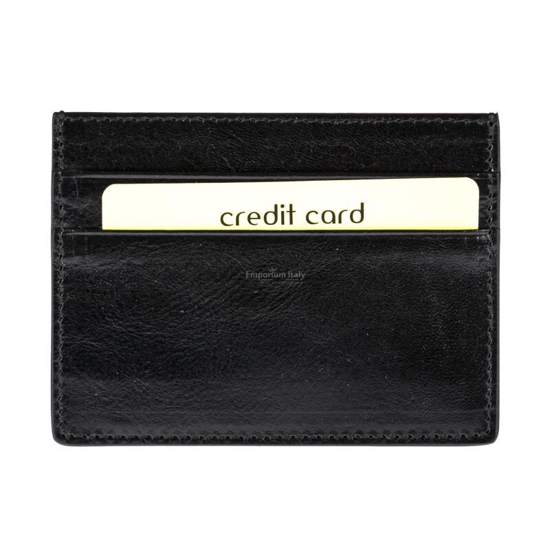 Porta tessere - carte di credito uomo / donna in vera pelle tradizionale SANTINI mod BELGIO, colore NERO, Made in Italy.