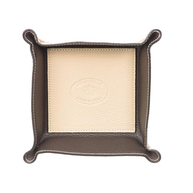 Mens / ladies leather glove box  EMPORIO TITANO mod HARRY, BEIGE / DARK BROWN, Made in Italy.