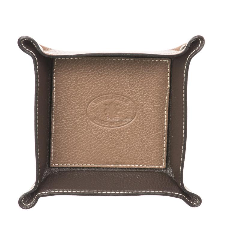Porta oggetti uomo / donna in pelle EMPORIO TITANO mod HARRY, colore TAUPE / TESTA DI MORO, Made in Italy.