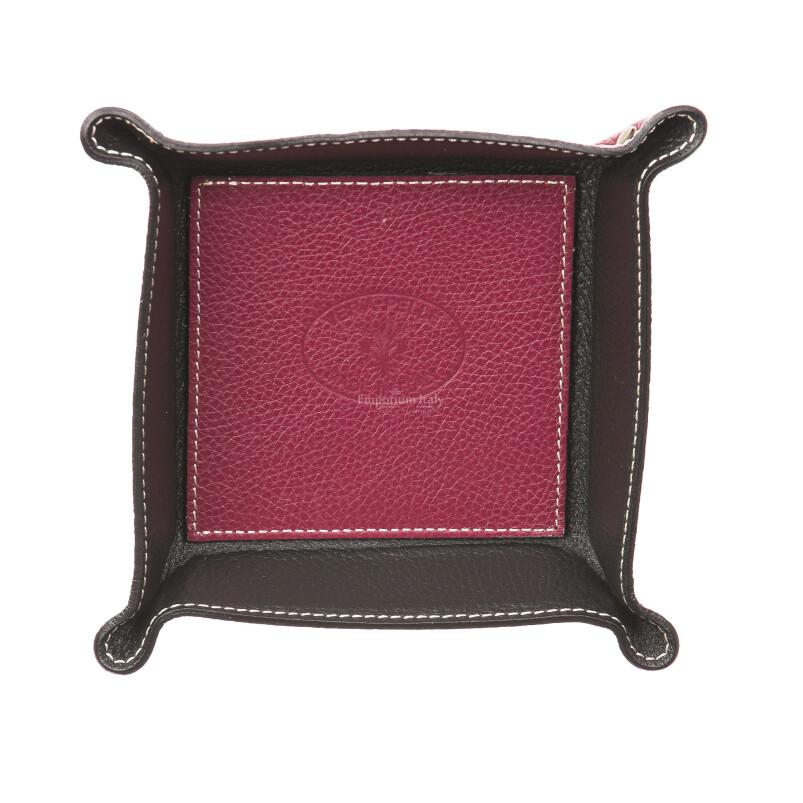 Mens / ladies leather glove box  EMPORIO TITANO mod HARRY, BORDO / BLACK, Made in Italy.