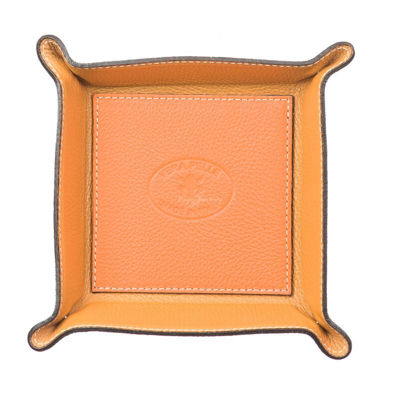 Mens / ladies leather glove box  EMPORIO TITANO mod HARRY, ORANGE, Made in Italy.