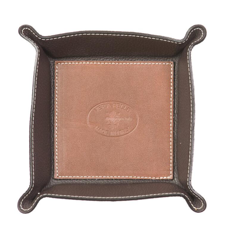 Porta oggetti uomo / donna in pelle EMPORIO TITANO mod HARRY, colore MARRONE / TESTA DI MORO, Made in Italy.