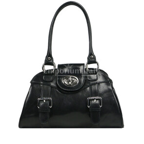 Borsa donna in vera pelle RINO DOLFI mod. EUGENIA colore NERO, Made in Italy.