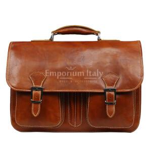 Cartella ufficio / lavoro uomo e donna in vera pelle MAESTRI mod. AMIR colore MIELE Made in Italy. (Borsa)