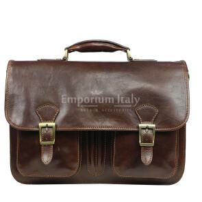 Cartella ufficio / lavoro uomo e donna in vera pelle MAESTRI mod. AMIR colore TESTA DI MORO, Made in Italy. (Borsa)
