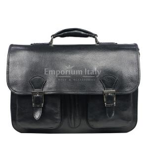 Cartella ufficio / lavoro uomo e donna in vera pelle MAESTRI mod. AMIR colore NERO Made in Italy. (Borsa)