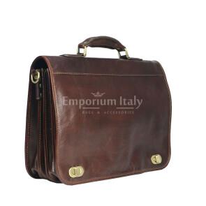 LUIGI: cartella/borsa ufficio uomo, in cuoio, colore: TESTA DI MORO, Made in Italy. (Borsa)