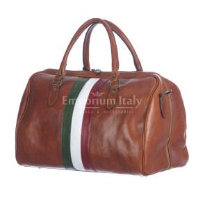 COMO MAXI : borsa da viaggio in cuoio, tricolore, colore : MIELE, Madei un Italy