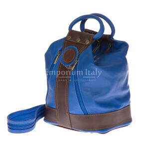 Borsa zaino donna in vera pelle EMPORIO TITANO mod. GRIGNA colore BLU Made in Italy.
