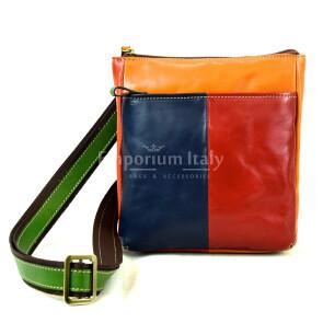 Borsa a tracolla da uomo in vera pelle FABRIZIO, colore MULTICOLOR, MAESTRI, MADE IN ITALY