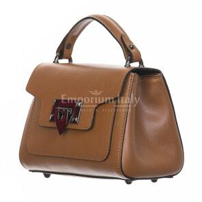 Borsa donna in vera pelle, CHIARO SCURO, mod AGNES colore marrone, Made in Italy.