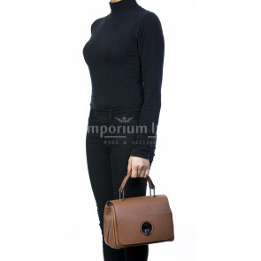 Borsa donna in vera pelle, DELIA REI, mod EVELIN colore marrone, Made in Italy.