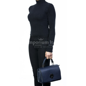 Borsa donna in vera pelle, DELIA REI, mod EVELIN colore blu, Made in Italy.