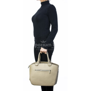 Borsa donna in vera pelle, DELIA REI, mod VICTORIA colore beige, Made in Italy.