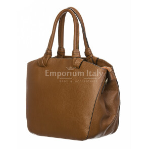 Borsa donna in vera pelle, DELIA REI, mod VICTORIA colore marrone, Made in Italy.