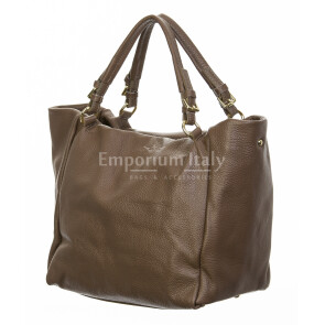 Borsa donna in vera pelle, DELIA REI, mod ELODY colore taupe, Made in Italy.