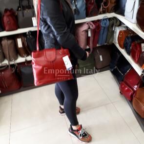 CARLA: borsa donna a spalla in pelle morbida, colore : ROSSO, Made in Italy