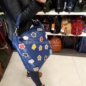 FLORIANA: borsa donna in pelle morbida, a spalla, a tracolla, colore : BLU, Made in Italy