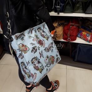 TARA: borsa donna in pelle morbida, a spalla, a tracolla, colore: AZZURRO, Made in Italy