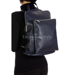 MONVISO : borsa - zaino donna, pelle morbida, colore: BLU, Made in Italy