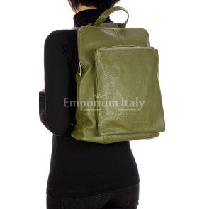 MONVISO : borsa - zaino donna, pelle morbida, colore: VERDE, Made in Italy