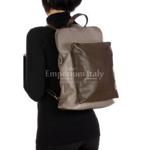 MONVISO : borsa - zaino donna, pelle morbida, colore: TAUPE / MARRONE, Made in Italy