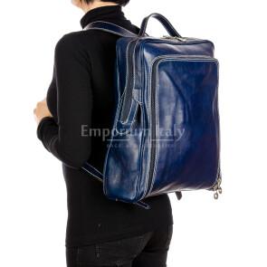 MONTE BIANCO MAXI : zaino uomo / donna, vero cuoio, colore BLU, Made in Italy.