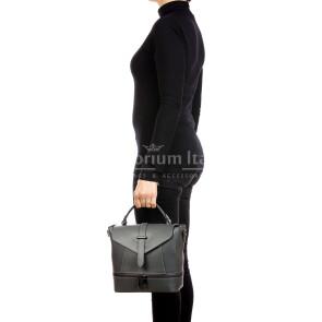 CAMY : borsa - zaino donna, pelle safiano rigida, colore : GRIGIO, Made in Italy.
