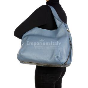 DAISY : borsa donna a spalla, pelle morbida, colore: AZZURRO, Made in Italy. (Borsa)
