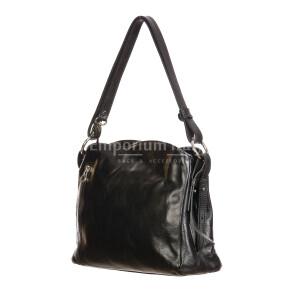 ORNELLA : borsa donna a spalla in cuoio, colore : NERO, Made in Italy