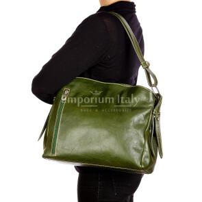 ORNELLA : borsa donna a spalla in cuoio, colore : VERDE, Made in Italy