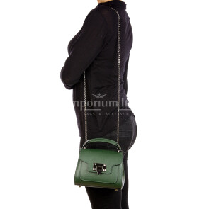 AGNES : borsa donna mini, pelle saffiano, colore : VERDE SCURO, Made in Italy