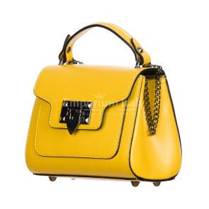 AGNES : borsa donna mini, pelle saffiano, colore : GIALLO, Made in Italy