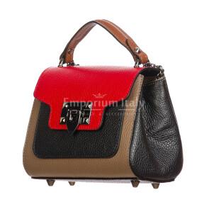 AGNES : borsa donna mini, pelle saffiano, colore : TAUPE / ROSSO / NERO, Made in Italy