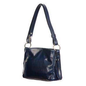ORNELLA MINI: borsa donna a spalla in cuoio, colore : BLU, Made in Italy (Borsa)