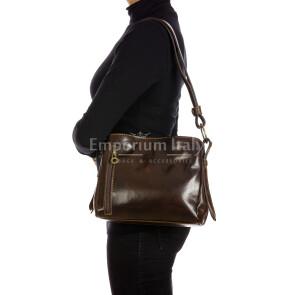 ORNELLA MINI: borsa donna a spalla in cuoio, colore : TESTAMORO, Made in Italy (Borsa)
