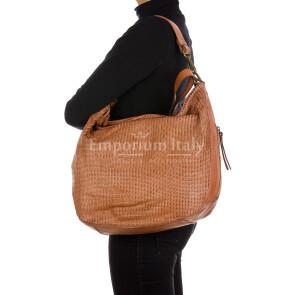 MARILENA : borsa donna a spalla, a tracolla, pelle morbida vintage, colore : ROSA, Made in Italy