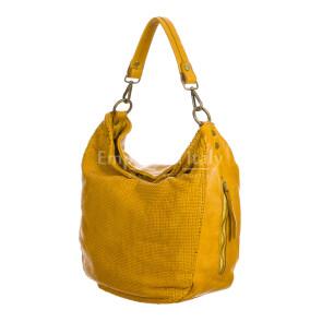 VERONICA : женская сумка через плечо из мягкой винтажной кожи, цвет : ЖЁЛТЫЙ, производство Италия