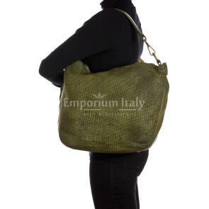 MARILENA : borsa donna a spalla, a tracolla, pelle morbida vintage, colore : VERDE, Made in Italy