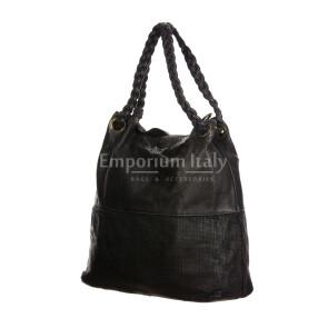 VANESSA : женская сумка из мягкой винтажной кожи, цвет : ЧЁРНЫЙ, производство Италия