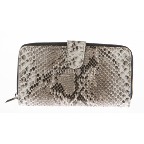 Ladies wallet in genuine python leather SANTINI mod GERANIO color GREY, Made in Italy.