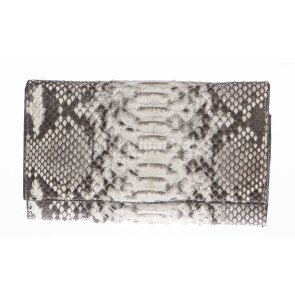 Ladies wallet in genuine python leather SANTINI mod GIRASOLE color GREY, Made in Italy.