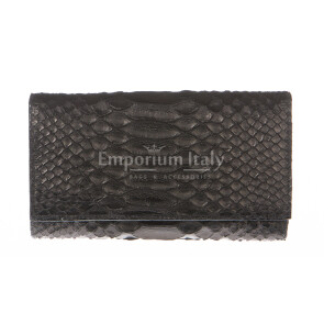 Ladies wallet in genuine python leather SANTINI mod GIRASOLE color BLACK, Made in Italy.