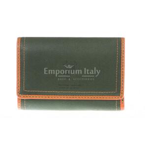 Ladies wallet in genuine nubuck leather HARVEY MILLER mod GIACINTA color GREEN, Made in Italy.