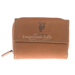 Ladies wallet in genuine nubuck leather HARVEY MILLER mod EDERA color HONEY, Made in Italy.