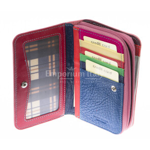 Ladies wallet in genuine traditional leather SANTINI mod LAVANDA color PINK, Made in Italy.